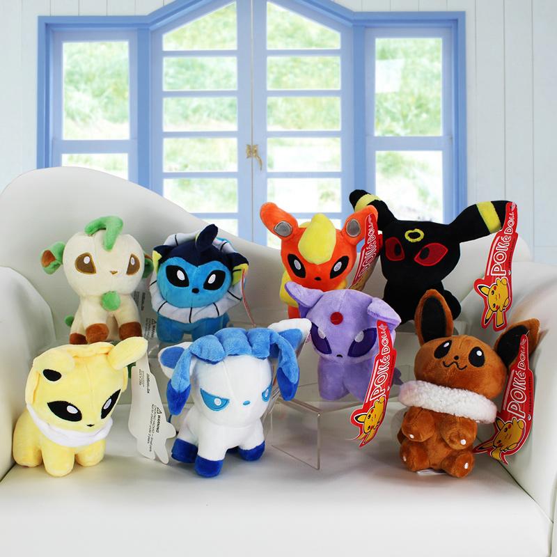 5''12cm Anime Pokemon Pikachu Plush Toy Pokemon Eevee Stuffed Doll Umbreon Leafeon Espeon Vaporeon Flareon Sylveon For Baby Toys(China (Mainland))