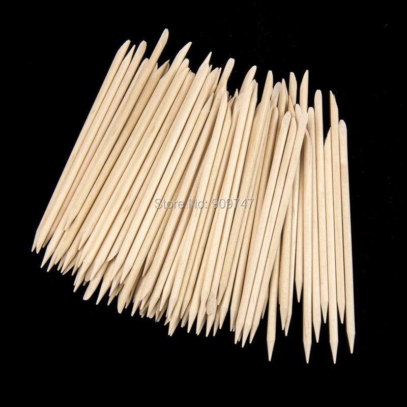 Wooden Nail Stick,100pcs Professional Nail Art Manicure Pedicure Cuticle Pusher Remover,Nail Rhinestone Dotting Pen Tools(China (Mainland))