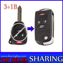 10 piece/lot Remodeling Flip remote key Shell For Chrysler 4 Button Key Fob With Panic Button