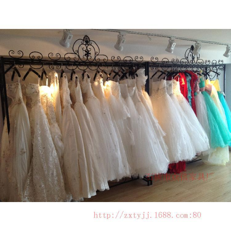 Wrought iron clothing rack shelf clothing display floor style wedding dress bridal gown double shelf hangers<br><br>Aliexpress