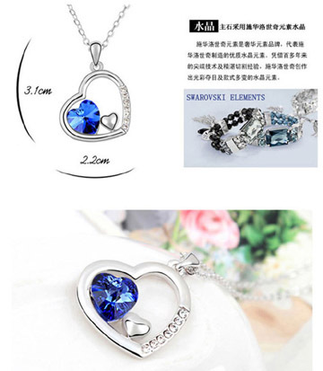 TH-Q018 Elegant necklace Austria element crystal heart in heart dreamland pendant plated with platinum necklace free shipping(China (Mainland))