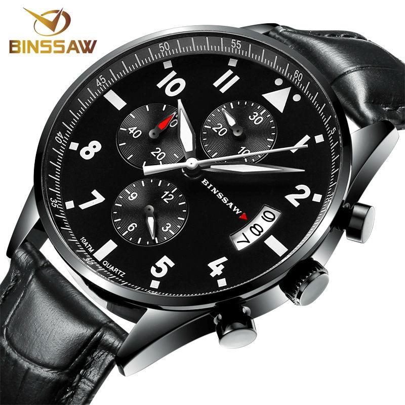 BINSSAW 2016 new men luxury fashion waterproof 100 m China_ brand authentic leather super luminescent quartz Sports wrist watch(China (Mainland))