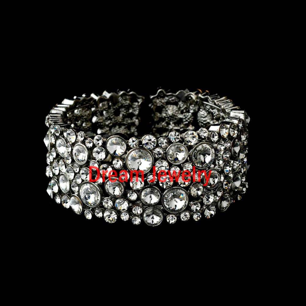 Hot Fashion 5/8 Rows Crystal Rhinestone Wedding Bridal Bracelet Bangle Bling Wristband Women Jewelry Free SHip(China (Mainland))