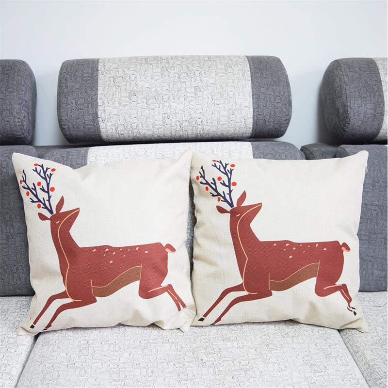 Replacement Throw Pillows For Sofa : Bird Deer Home Decorative Sofa Cushion Cover Throw Pillow Case Vintage Cotton Linen Square Cute ...