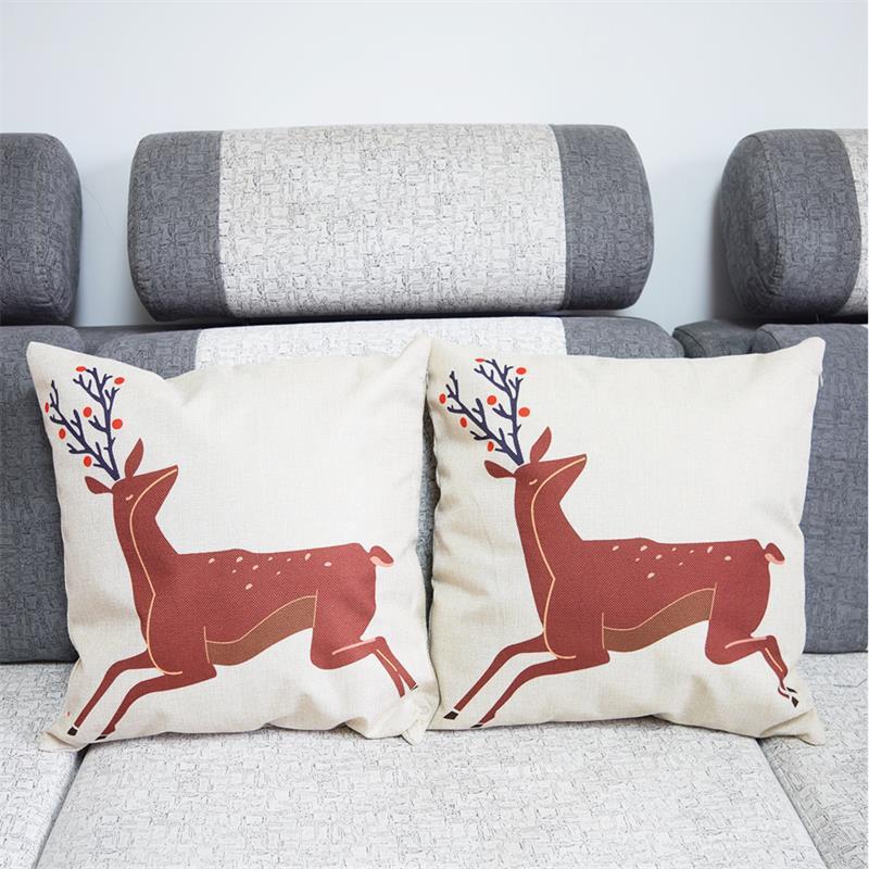 Bird Deer Home Decorative Sofa Cushion Cover Throw Pillow Case Vintage Cotton Linen Square Cute ...
