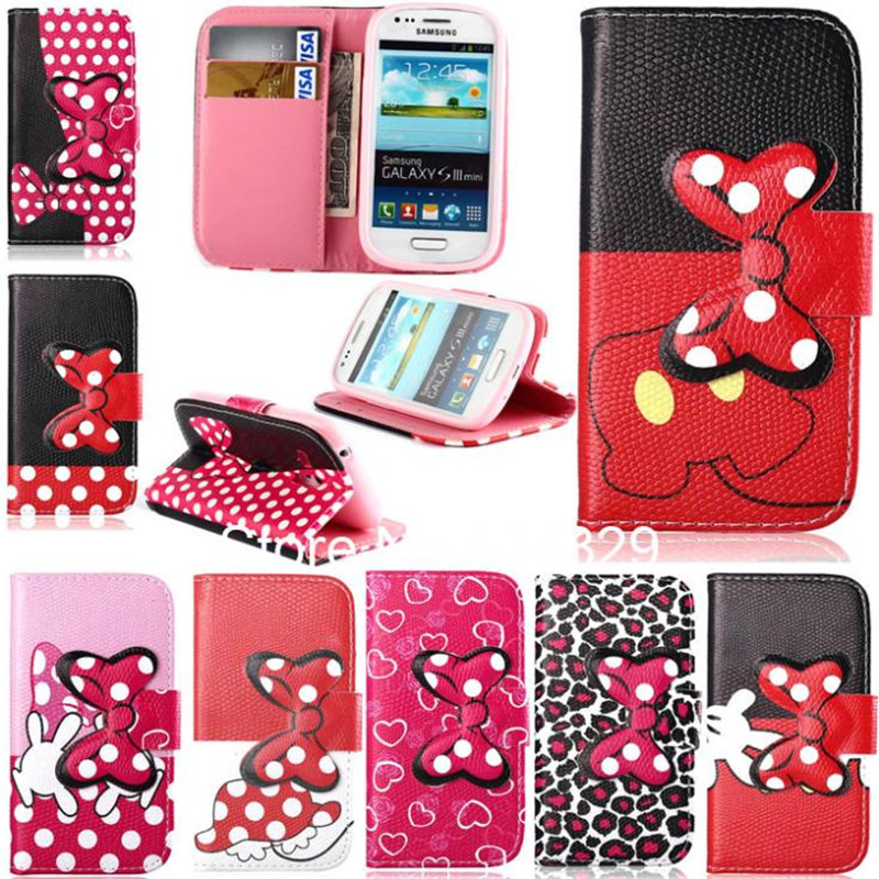3D Bowknot Magnet Style Leopard Leather Flip Card Slot Pouch Wallet Case Cover Samsung Galaxy S3 MINI I8190 - MJ-Case Trading Co.,Ltd store
