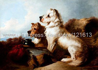 Ansdell Richard A West Highland White & Skye Terrier Guarding The Days Bag Hand Painted Deco Art Wall Art Impression Deco(China (Mainland))