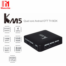 Buy Mesuvida KM5 TV Box Quad Core Amlogic S905X Android 6.0 2.4G WiFi VP9 H.265 Multi-media Player 1GB 8GB CODI 17.0 Set-top Boxes for $30.99 in AliExpress store