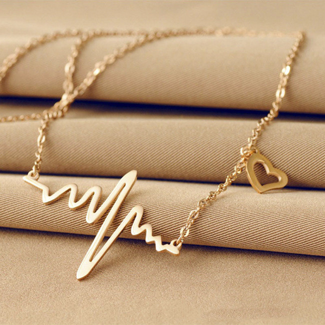 2016 New Fashion Jewelry Imitation Titanium steel  Gold Plated ECG Heart Necklace Clavicle Choker Pendant Necklace