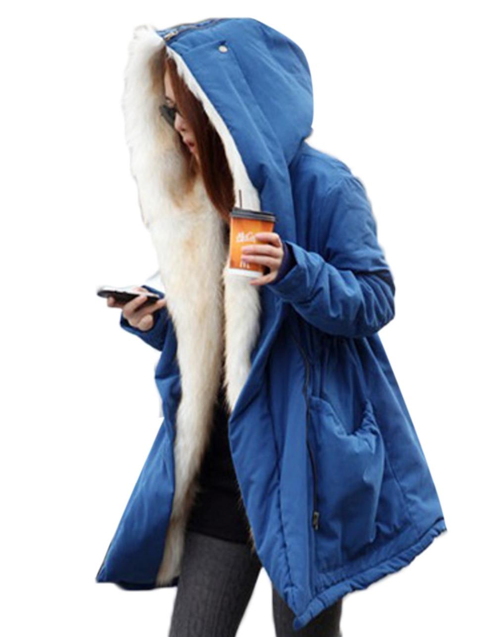 Скидки на Женщины Леди Длинное Пальто С Капюшоном Руно Теплый Толстый Случайный Верхняя Одежда Стильный Высокое Качество