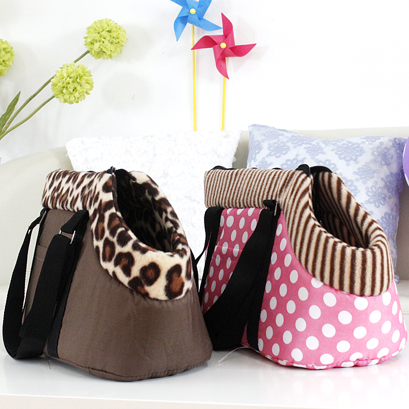 pet bag dog carrier ,travel carrying bag for dogs and cats leopard print small dog bag pink polka dots cat bag(China (Mainland))