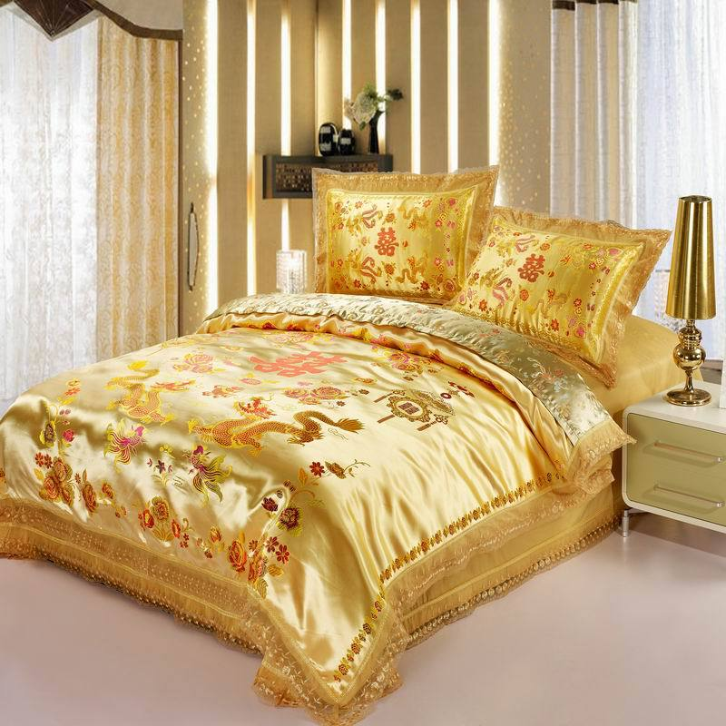Aliexpress Com Buy Red Satin Comforter Set Dragon