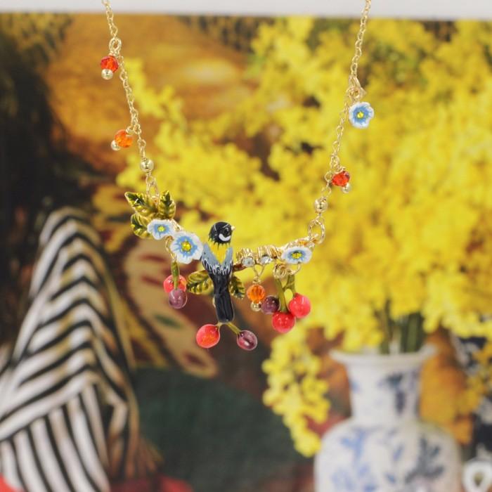 Новый Элегантный Романтический Цветок Филиал Птица Вишня Ожерелье Для Женщин Высокого Качества Леди Ювелирные Изделия