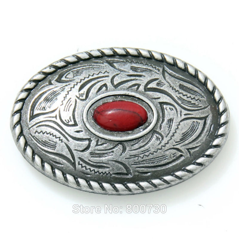 Wholesale!  50pc Prairie Dust Oval Concho 1-7/16 x 1 (2.5 cm) Antique-Silver w/ Red-Stone Concho<br><br>Aliexpress