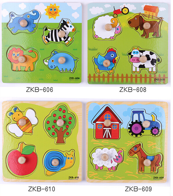 3D baby Kid Early educational hand grasp jigsaw toys wooden puzzle Animal insect learning education child wooden toy(wxt024)(China (Mainland))