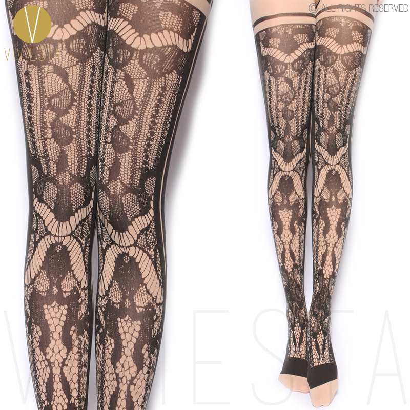 MOCK LACE FISHNET OPAQUE TIGHTS - 80D Women's Sexy Trendy Stylish Fake Net Print Floral Crochet Hold Up Black Stocking Pantyhose(China (Mainland))