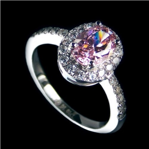 2CT Pure 18K White Gold Oval Style Pinky Genuine Synthetic Diamond Engagment Ring Pure Au750 Gold Jewelry Never Fade Or Discolor(China (Mainland))
