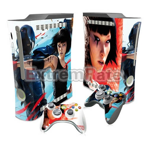 Serious Girl Style Design Vinyl Full Set Sticker for Xbox 360 Fat Console + 2 Matching controller stickers(China (Mainland))