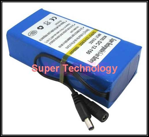 real 15000 Mah 5A current discharge,DC 12V battery pack lithium polymer battery pack battery,li-ion polymer battery 1A charger,(China (Mainland))