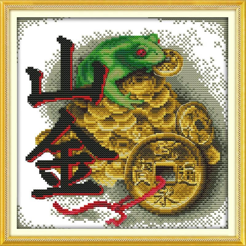 DIY Vein gold painting cross stitch Feng Shui Decor embroidery hand made Needlework kits store decoration innovation items(China (Mainland))