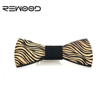 2016 Rewood Hot Selling Fashion Men Wooden Bow Tie Mens Accessories Zebra Stripes Wedding Butterfly Neckties krawatte Gravata