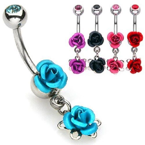 Colorful Double Metal ROSE Gem Top BELLY Button NAVEL RING Body Piercing Jewelry(China (Mainland))