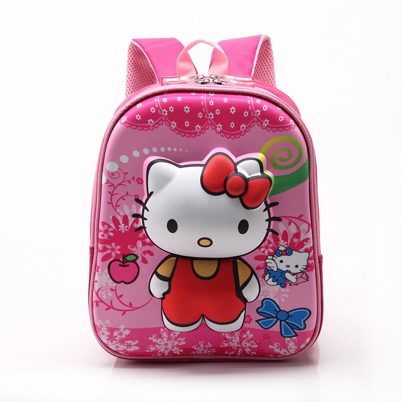 2016 High Quality Rose Red Hello Kitty Backpacks Plush Cartoon Toy Backpack Girl Character School Bag Kids Mochila Infantil Bag(China (Mainland))