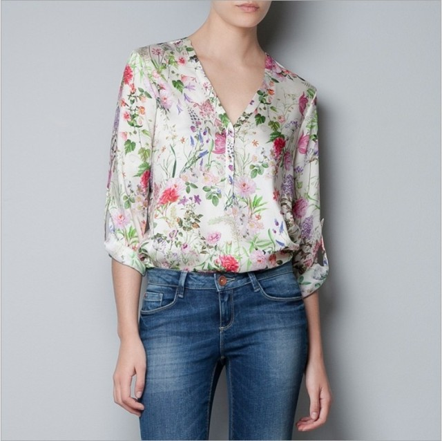 2013 women's chiffon shirt silk printed v-neck blouses ladies long sleeve shirts tops women - Harry Waston's store