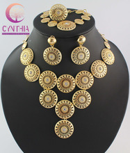 Dubai African Chunky Gold Plated Crystal Jewelry Sets