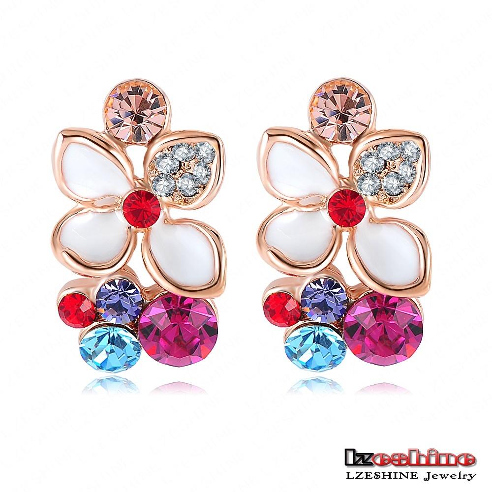 LZESHINE Brand Flower Earrings 18K Rose Gold Plated White Enamel Earrings Stud Austrian Crystal SWA Element Pendientes ER0100(China (Mainland))