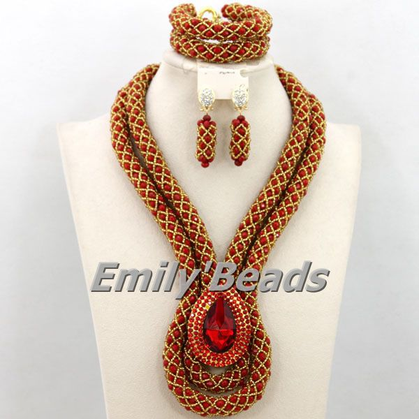 2015 Hot Design Nigerian Wedding African Beads Jewelry Sets African Costume Crystal Beads Jewelry Set Free Shipping AEJ721(China (Mainland))