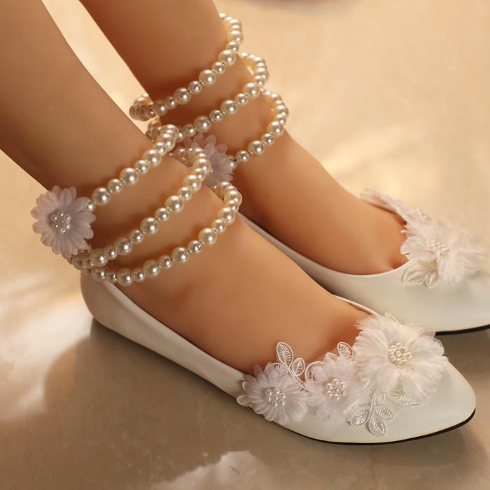 Buy White Nurses Shoes Lace Sweet Princess Round Flat Wedding Shoe At DinoDirect
