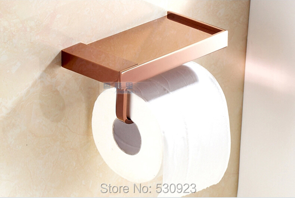 Newly Rose Golden Polished Bathroom Multi-fonction Soap Dish Holder Toilet Tissue Rack With Commodity Shelf Wall Mount