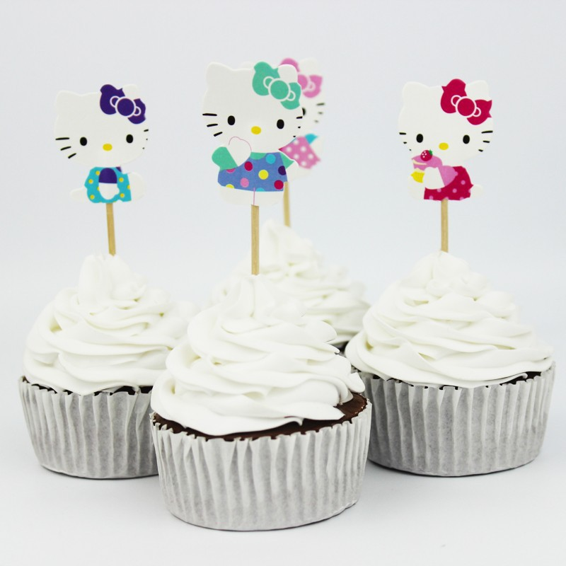 24 pcs/lot Hello Kitty Cupcake Toppers Cake Decoration For Kids Birthday Party Baby Shower Girls Party Favors Cupcake Accessory(China (Mainland))