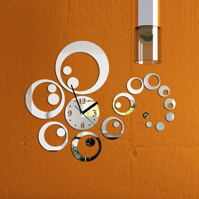Creative DIY Acrylic Mirror Wall Wall Clock Contracted Household Adornment Mute Frame Posted Quartz Clocks(China (Mainland))
