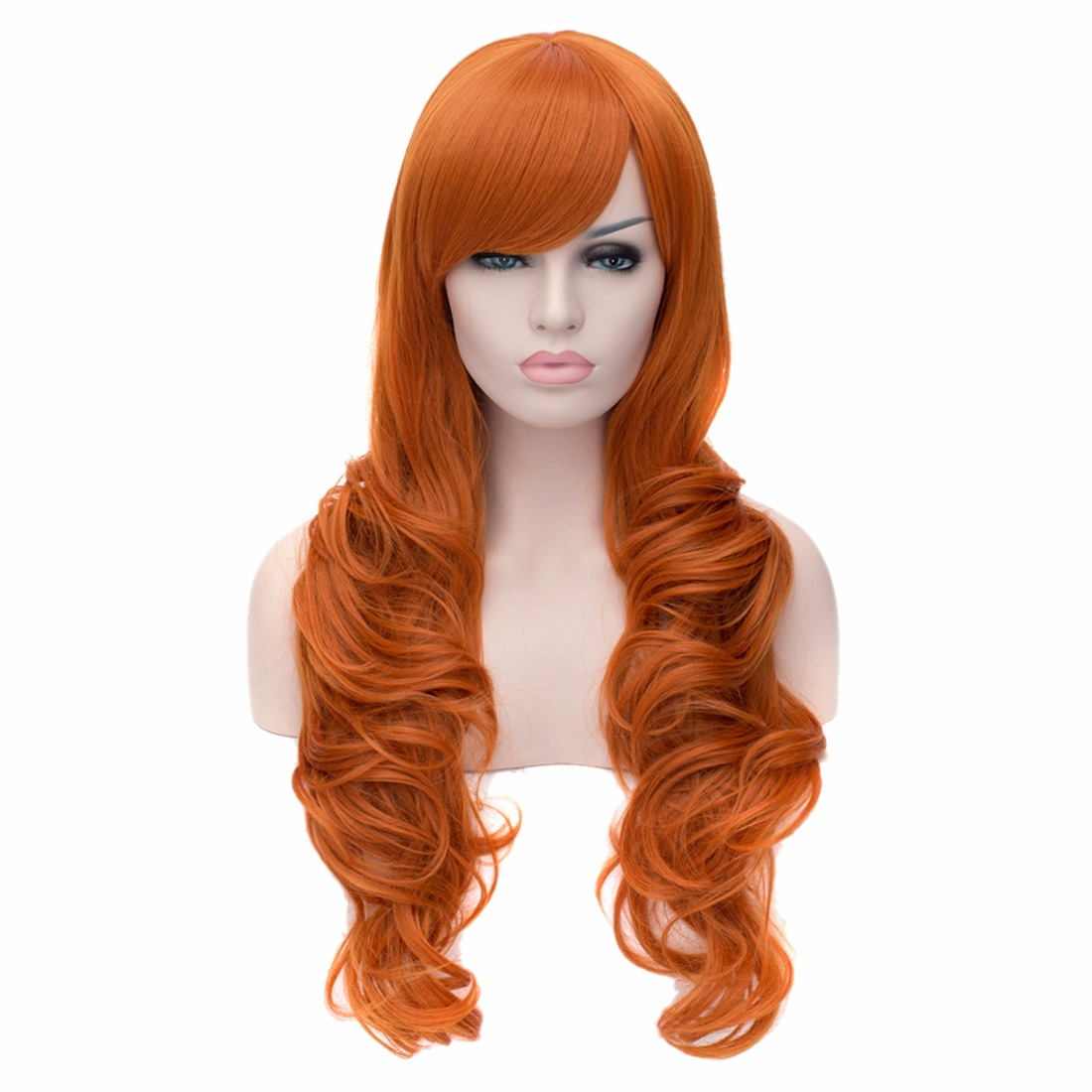 Orange Long Wave Curly Cosplay Fashion Party Women Full Synthetic Hair Wigs<br><br>Aliexpress