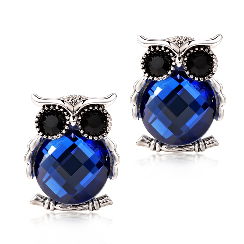 Owl Stud Earrings For Women Blue Crystal Boucle D'oreille Femme Charm Animal Bijouterie Vintage Rhinestone Earrings Studs(China (Mainland))