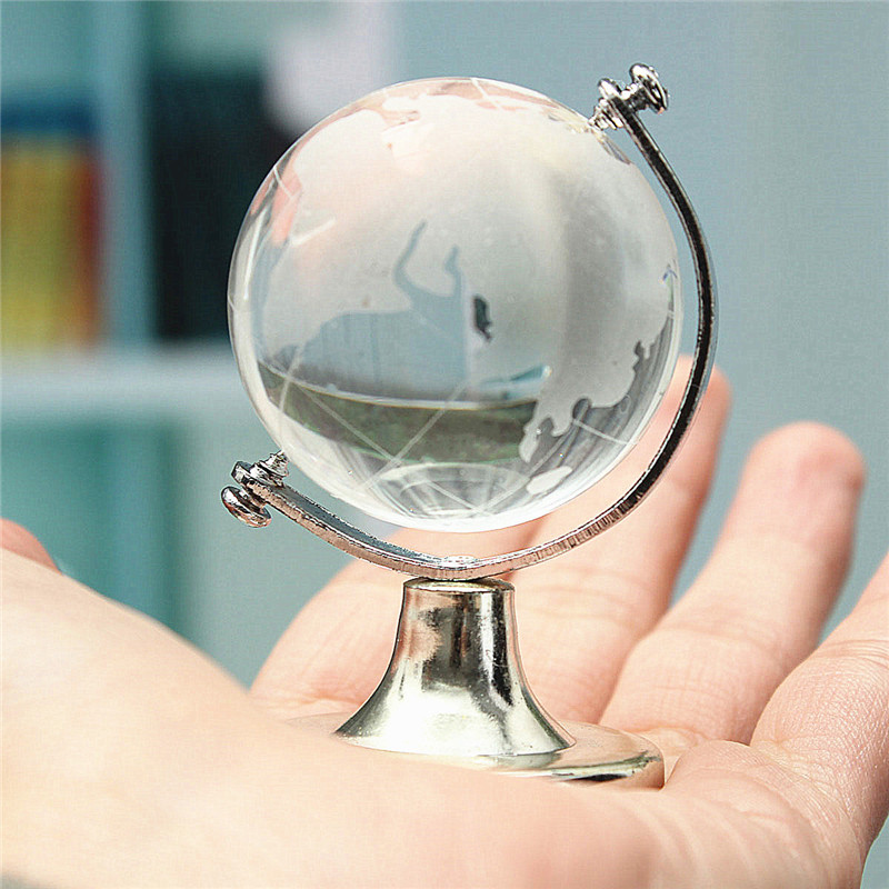 Modern Glass Plastic Transparent World Globe Crystal Glass Clear Desk Decor Wedding Favor Tellurion Ornaments Gifts70 x 45mm(China (Mainland))