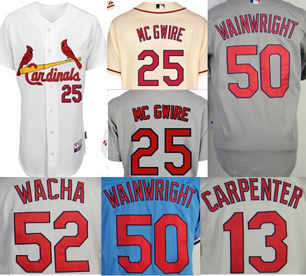 St. Louis Cardinals 25 Mark McGwire jersey 50 Adam Wainwright 52 Michael Wacha 13 Matt Carpenter Jersey size small s 46 - 4xl 58(China (Mainland))