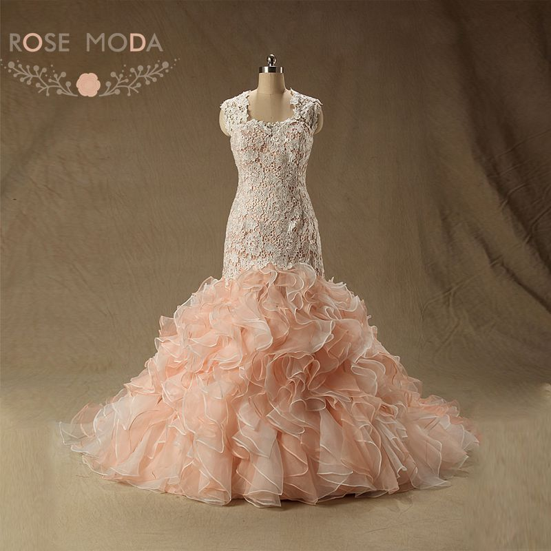 Buy crawley inspired blush pink ruffled for Pink ruffle wedding dress