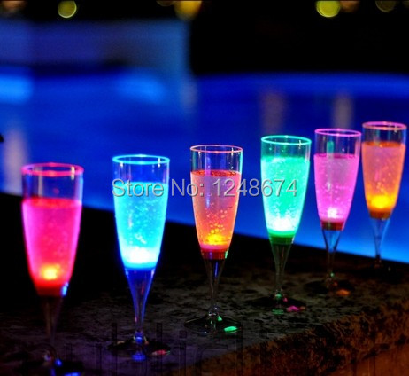 Free Shipping 6PCS Liquid active PS LED Champagne Glass,LED Flashing Cup LED Drinkware Glass LED Cup Goblet For Party/Wedding(China (Mainland))
