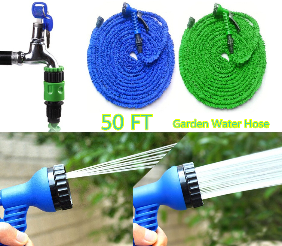 Newest Gargen Hose Reels Water Hose Car Wash Flexible Hose Pipe 50FT/15M Retractable Garden Hoses with Spray Gun US EU Connector(China (Mainland))