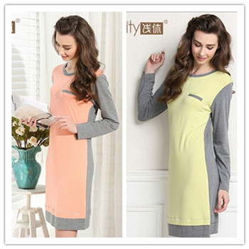 2014 New Summer/Autumn Sleepwear Women's Cotton Nightgown Dress Women Home Clothes Nightgown Plus Size Lady casual nightdress(China (Mainland))