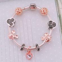 สัตว์ Mickey Charm กำไลและกำไลผู้หญิงเครื่องประดับ Minnie Pink Bow-Knot จี้สร้อยข้อมือแบรนด์ DIY Handmade สำหรับสาวของข...(China)