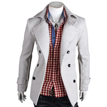 Plus Size 5 Colors 2015 New Autumn Winter Fashion Solid Double Breasted Wool Coat Men & Stylish Slim Mens Winter Coats 8706(China (Mainland))