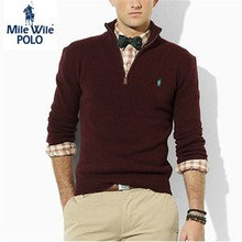 2015 High quality Casual zipper mens polo sweaters brand famous Embroidery Long Sleeve solid cotton men sweaters and pullovers(China (Mainland))