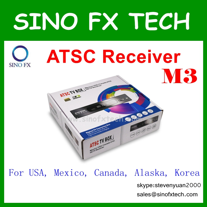 DHL free 2016 full hd ATSC TV Box M3 ATSC TV Receiver for USA Canada Mexico Korea(China (Mainland))