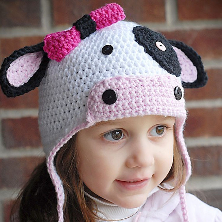 Crochet Baby Girl cartoon Milk Cow Winter hats Toddler Girls Knitted Earflaps Winter Hat Infant Kids Headgear 1pc MZS-14128(China (Mainland))