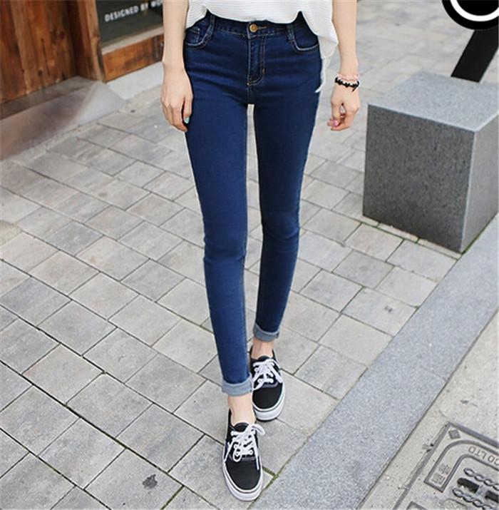 Drop Shipping 2014 New Fashion Women High Waist Jeans Skinny pants Slim Denim Trousers Plus Size Vintage Women Jeans (China (Mainland))