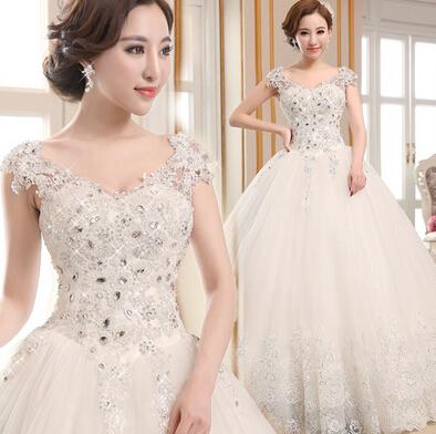 vestido de noiva 2015 new V-neck lace wedding dress beautiful palace dream wedding dresses upscale(China (Mainland))